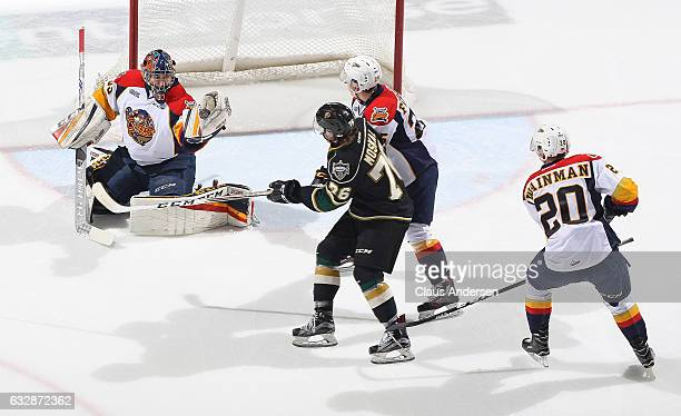 Troy Timpano of the Erie Otters makes a glove save against the London Knights during an OHL game at Budweiser Gardens on January 27 2017 in London...
