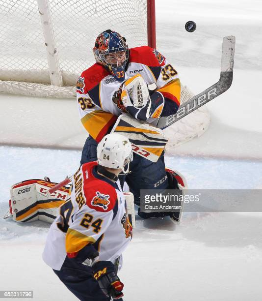 Troy Timpano of the Erie Otters makes a stop against the London Knights during an OHL game at Budweiser Gardens on March 10 2017 in London Ontario...