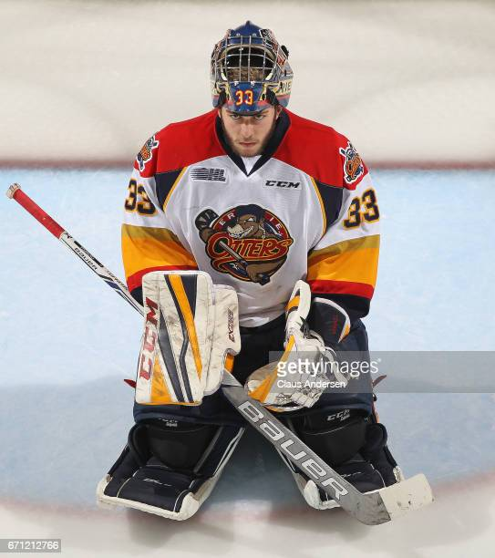 Troy Timpano of the Erie Otters takes a breather against the London Knights in Game Six of the OHL Western Conference SemiFinal on April 16 2017 at...
