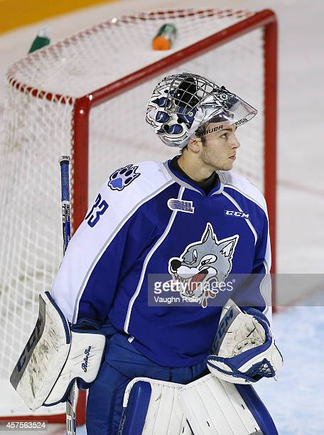 Troy Timpano of the Sudbury Wolves looks up ice during an OHL game between the Sudbury Wolves and the Niagara Ice Dogs at the Meridian Centre on...