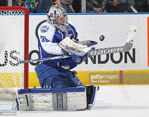 Troy Timpano of the Sudbury Wolves stops a shot against the London Knights in an OHL game at the Budweiser Gardens on November 2 2014 in London...