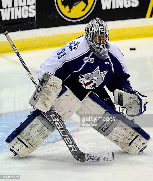 Troy Timpano of the Sudbury Wolves takes warmup prior to a game against the Mississauga Steelheads on December 21 2014 at the Hershey Centre in...