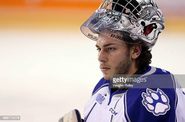 Troy Timpano of the Sudbury Wolves warms up during an OHL game against the Niagara IceDogs at the Meridian Centre on March 14 2015 in St Catharines...