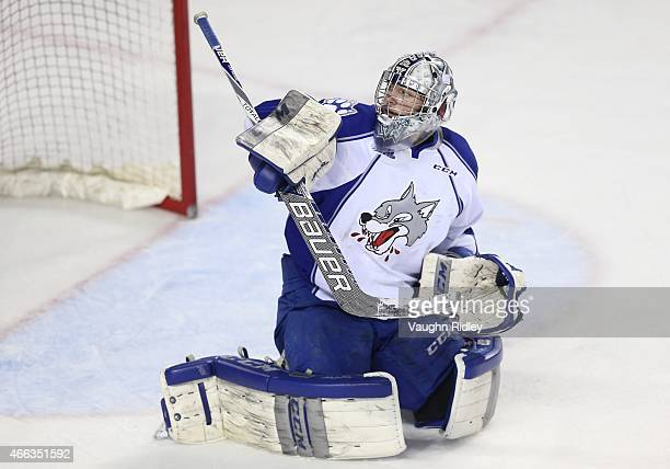Troy Timpano of the Sudbury Wolves watches a shot go by during an OHL game against the Niagara IceDogs at the Meridian Centre on March 14 2015 in St...