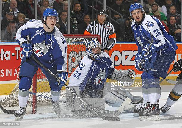Troy Timpano of the Sudbury Wolves watches for a rebound against the London Knights during an OHL game at Budweiser Gardens on October 9 2015 in...