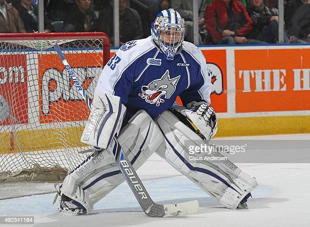 Troy Timpano of the Sudbury Wolves watches for a shot against the London Knights during an OHL game at Budweiser Gardens on October 9 2015 in London...