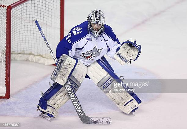 Troy Timpano of the Sudbury Wolves watches the puck during an OHL game against the Niagara IceDogs at the Meridian Centre on March 14 2015 in St...