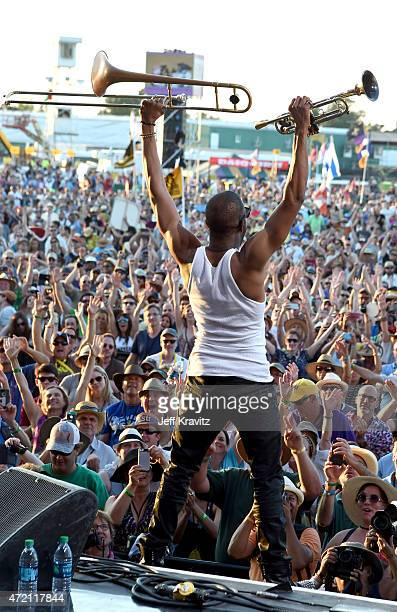 Troy 'Trombone Shorty' Andrews performs at Fair Grounds Race Course on May 3 2015 in New Orleans Louisiana