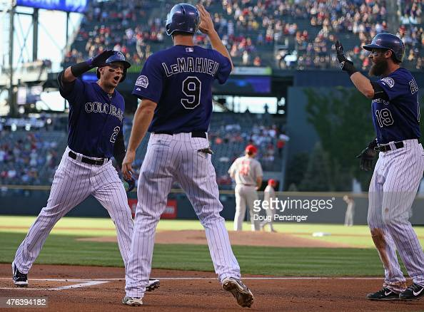 Troy Tulowitzki of the Colorado Rockies celebrates his three run home run off of starting pitcher John Lackey of the St Louis Cardinals with DJ...