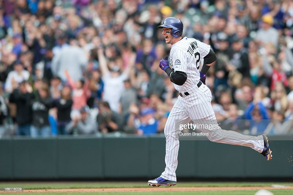 <a gi-track='captionPersonalityLinkClicked' href=/galleries/search?phrase=Troy+Tulowitzki&family=editorial&specificpeople=757353 ng-click='$event.stopPropagation()'>Troy Tulowitzki</a> #2 of the Colorado Rockies circles the bases and celebrates after hitting a solo home run in the fourth inning of a game against the Tampa Bay Rays at Coors Field on May 5, 2013 in Denver, Colorado.