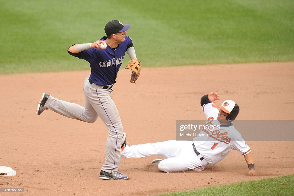 <a gi-track='captionPersonalityLinkClicked' href=/galleries/search?phrase=Troy+Tulowitzki&family=editorial&specificpeople=757353 ng-click='$event.stopPropagation()'>Troy Tulowitzki</a> #2 of the Colorado Rockies forces out Brian Roberts #1 of the Baltimore Orioles at second base in the seventh inning during a baseball game on August 18, 2013 at Oriole Park at Camden Yards in Baltimore, Maryland. The Oriole swon 7-2.