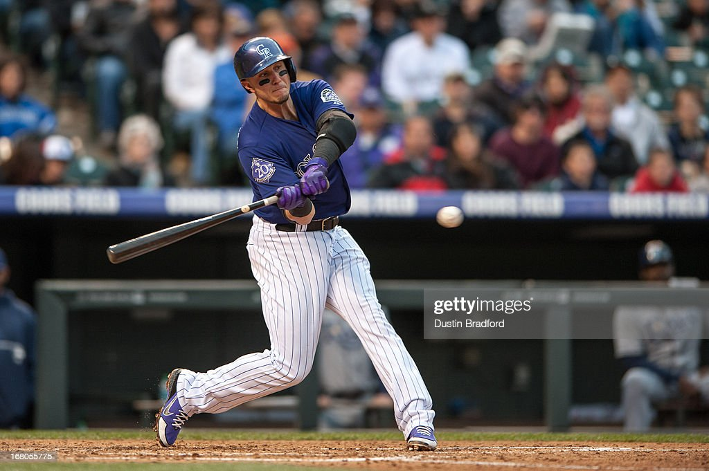 <a gi-track='captionPersonalityLinkClicked' href=/galleries/search?phrase=Troy+Tulowitzki&family=editorial&specificpeople=757353 ng-click='$event.stopPropagation()'>Troy Tulowitzki</a> #2 of the Colorado Rockies hits a double and drives in two runs in the third inning of a game against the Tampa Bay Rays at Coors Field on May 4, 2013 in Denver, Colorado. The game was tied after four innings.