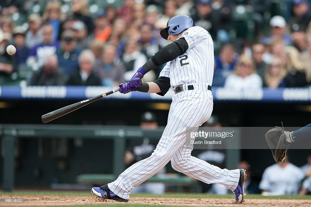 <a gi-track='captionPersonalityLinkClicked' href=/galleries/search?phrase=Troy+Tulowitzki&family=editorial&specificpeople=757353 ng-click='$event.stopPropagation()'>Troy Tulowitzki</a> #2 of the Colorado Rockies hits a solo home run in the fourth inning of a game against the Tampa Bay Rays at Coors Field on May 5, 2013 in Denver, Colorado.