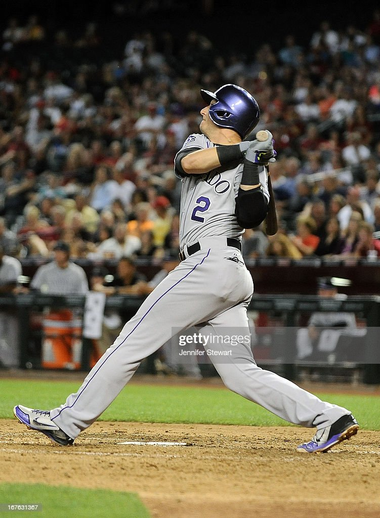 <a gi-track='captionPersonalityLinkClicked' href=/galleries/search?phrase=Troy+Tulowitzki&family=editorial&specificpeople=757353 ng-click='$event.stopPropagation()'>Troy Tulowitzki</a> #2 of the Colorado Rockies hits a three-run double against the Arizona Diamondbacks in the fifth inning at Chase Field on April 26, 2013 in Phoenix, Arizona.