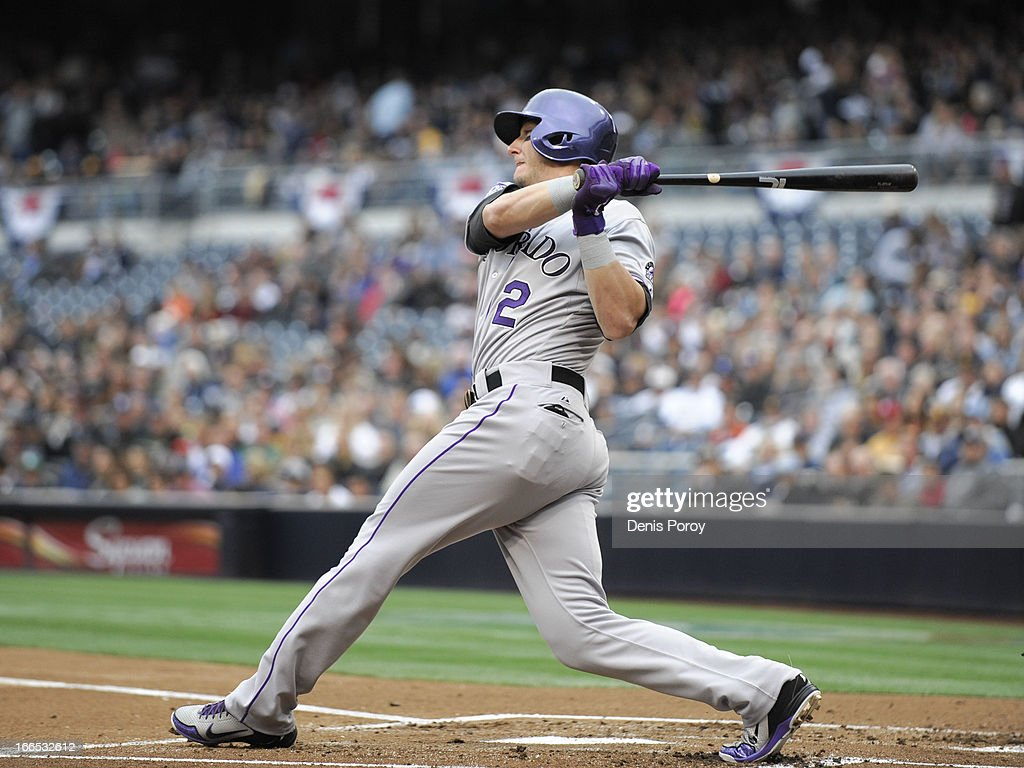 <a gi-track='captionPersonalityLinkClicked' href=/galleries/search?phrase=Troy+Tulowitzki&family=editorial&specificpeople=757353 ng-click='$event.stopPropagation()'>Troy Tulowitzki</a> #2 of the Colorado Rockies hits an RBI double during the first inning of a baseball game against the San Diego Padres at Petco Park on April 13, 2013 in San Diego, California.