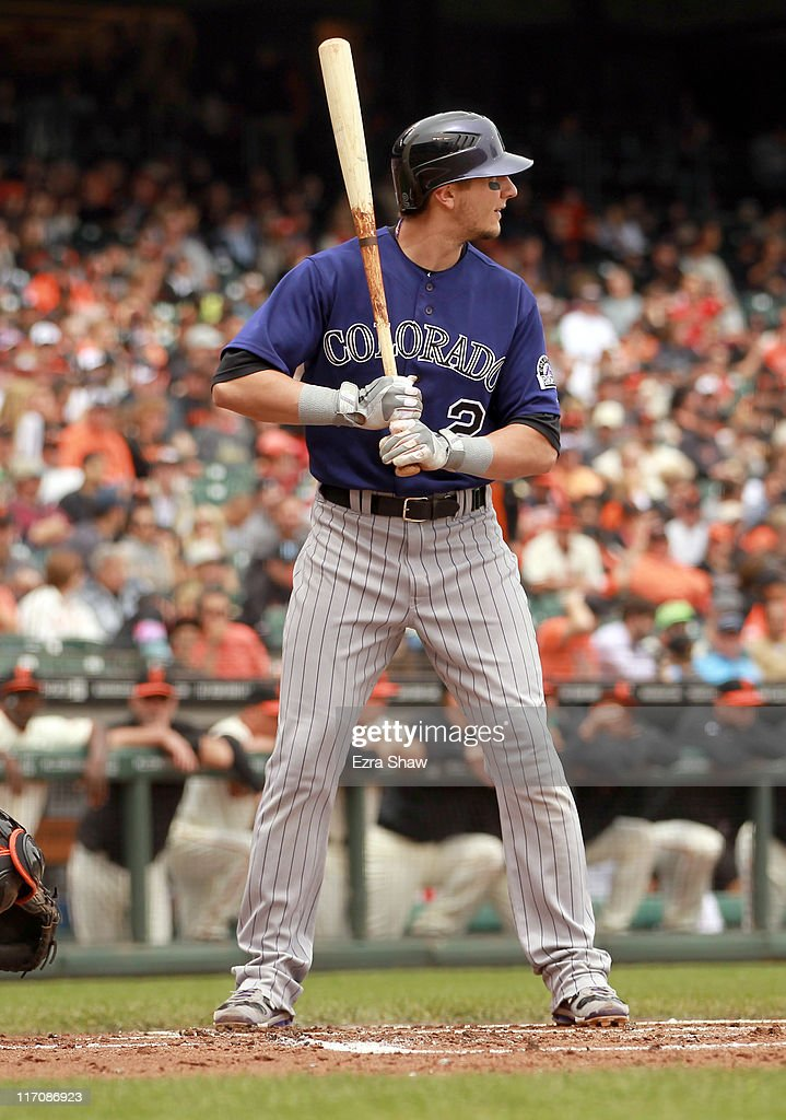 <a gi-track='captionPersonalityLinkClicked' href=/galleries/search?phrase=Troy+Tulowitzki&family=editorial&specificpeople=757353 ng-click='$event.stopPropagation()'>Troy Tulowitzki</a> #2 of the Colorado Rockies in action against the San Francisco Giants at AT&T Park on June 5, 2011 in San Francisco, California.