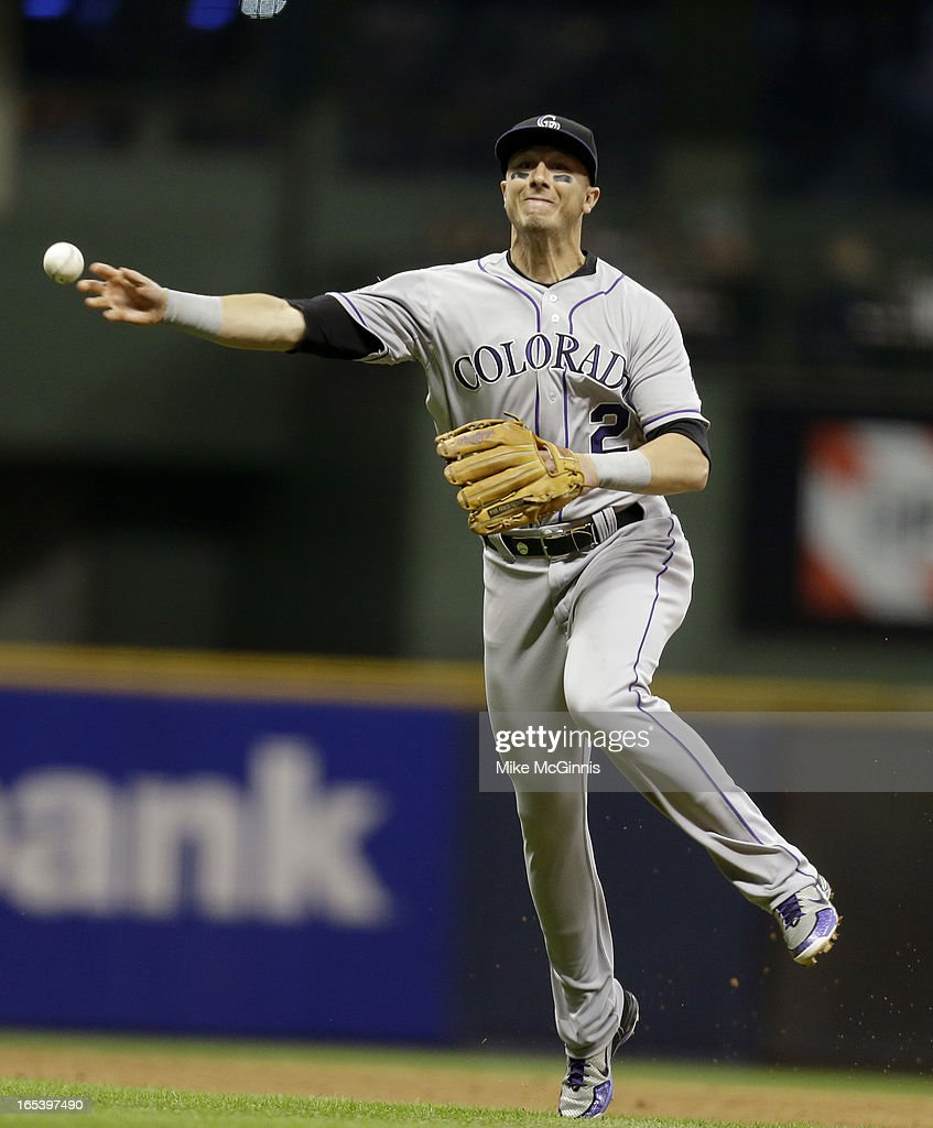 <a gi-track='captionPersonalityLinkClicked' href=/galleries/search?phrase=Troy+Tulowitzki&family=editorial&specificpeople=757353 ng-click='$event.stopPropagation()'>Troy Tulowitzki</a> #2 of the Colorado Rockies makes the running throw to first base to get Rickie Weeks of the Milwaukee Brewers (not pictured) out in the bottom of the fifth inning at Miller Park on April 3, 2013 in Milwaukee, Wisconsin.