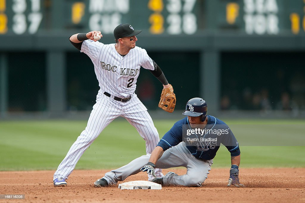 <a gi-track='captionPersonalityLinkClicked' href=/galleries/search?phrase=Troy+Tulowitzki&family=editorial&specificpeople=757353 ng-click='$event.stopPropagation()'>Troy Tulowitzki</a> #2 of the Colorado Rockies pivots at second base to attempt to turn a double play past <a gi-track='captionPersonalityLinkClicked' href=/galleries/search?phrase=Desmond+Jennings&family=editorial&specificpeople=5974085 ng-click='$event.stopPropagation()'>Desmond Jennings</a> #8 of the Tampa Bay Rays in the third inning of a game at Coors Field on May 5, 2013 in Denver, Colorado.