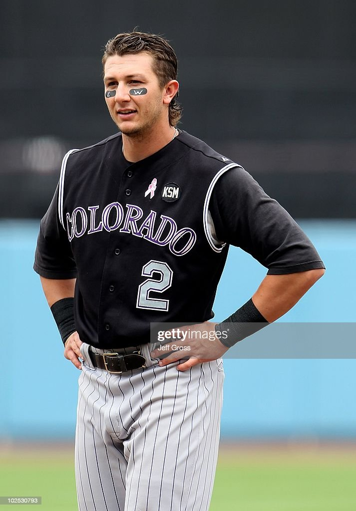 Troy Tulowitzki #2 of the Colorado Rockies plays against the Los Angeles Dodgers at Dodger Stadium on May 9, 2010 in Los Angeles, California.