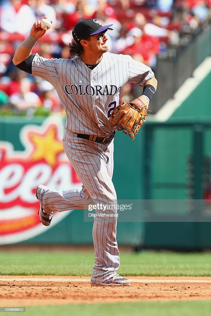 <a gi-track='captionPersonalityLinkClicked' href=/galleries/search?phrase=Troy+Tulowitzki&family=editorial&specificpeople=757353 ng-click='$event.stopPropagation()'>Troy Tulowitzki</a> #2 of the Colorado Rockies throws to first base against the St. Louis Cardinals at Busch Stadium on October 2, 2010 in St. Louis, Missouri. The Cardinals beat the Rockies 1-0 in 11 innings.