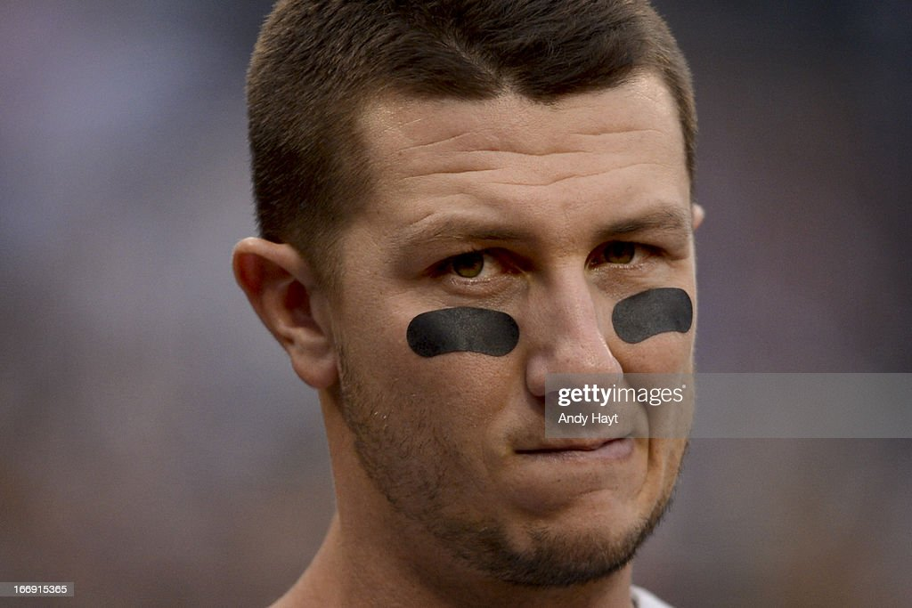 <a gi-track='captionPersonalityLinkClicked' href=/galleries/search?phrase=Troy+Tulowitzki&family=editorial&specificpeople=757353 ng-click='$event.stopPropagation()'>Troy Tulowitzki</a> #2 of the Colorado Rockies watches the game from the dugout against of the San Diego Padres at Petco Park on April 13, 2013 in San Diego, California.