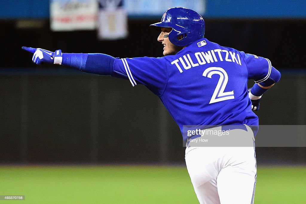 <a gi-track='captionPersonalityLinkClicked' href=/galleries/search?phrase=Troy+Tulowitzki&family=editorial&specificpeople=757353 ng-click='$event.stopPropagation()'>Troy Tulowitzki</a> #2 of the Toronto Blue Jays celebrates after hitting a three-run home run in the third inning against the Kansas City Royals during game three of the American League Championship Series at Rogers Centre on October 19, 2015 in Toronto, Canada.