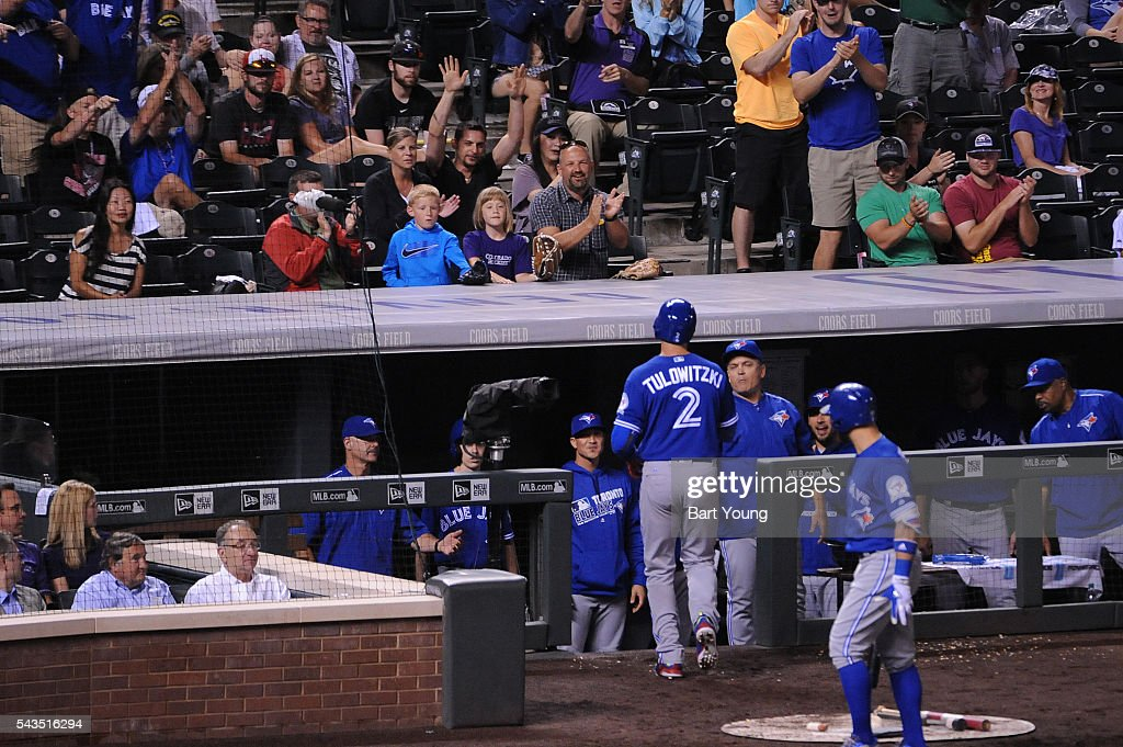 Troy Tulowitzki #2 of the Toronto Blue Jays celebrates his solo home run in the fourth inning against the Colorado Rockies at Coors Field on June 28, 2016 in Denver, Colorado. The Toronto Blue Jays defeat the Colorado Rockies 14-9.