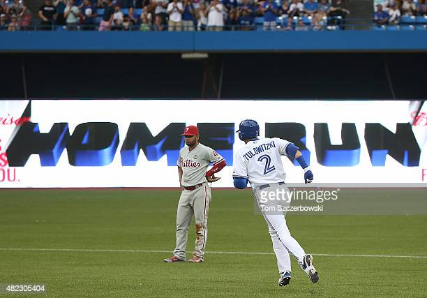 Troy Tulowitzki of the Toronto Blue Jays circles the bases after hitting a tworun home run in the second inning during MLB game action against the...
