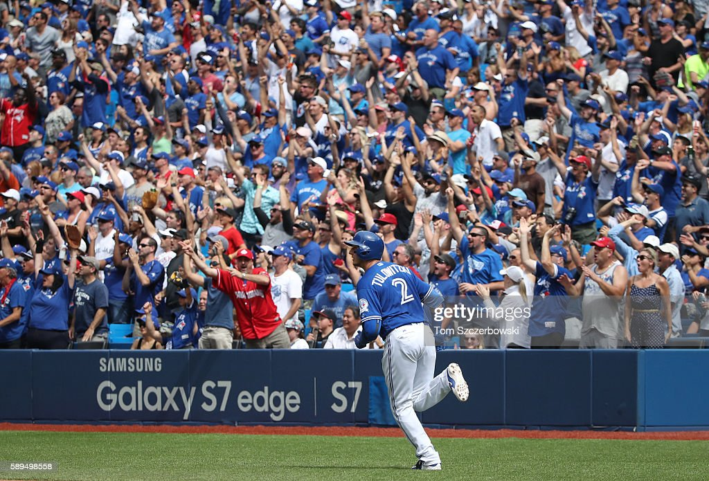 Troy Tulowitzki #2 of the Toronto Blue Jays circles the bases as he hits a three-run home run in the fifth inning during MLB game action against the Houston Astros on August 14, 2016 at Rogers Centre in Toronto, Ontario, Canada.