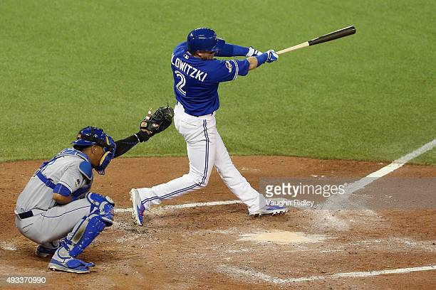 Troy Tulowitzki of the Toronto Blue Jays hits a threerun home run in the third inning against the Kansas City Royals during game three of the...