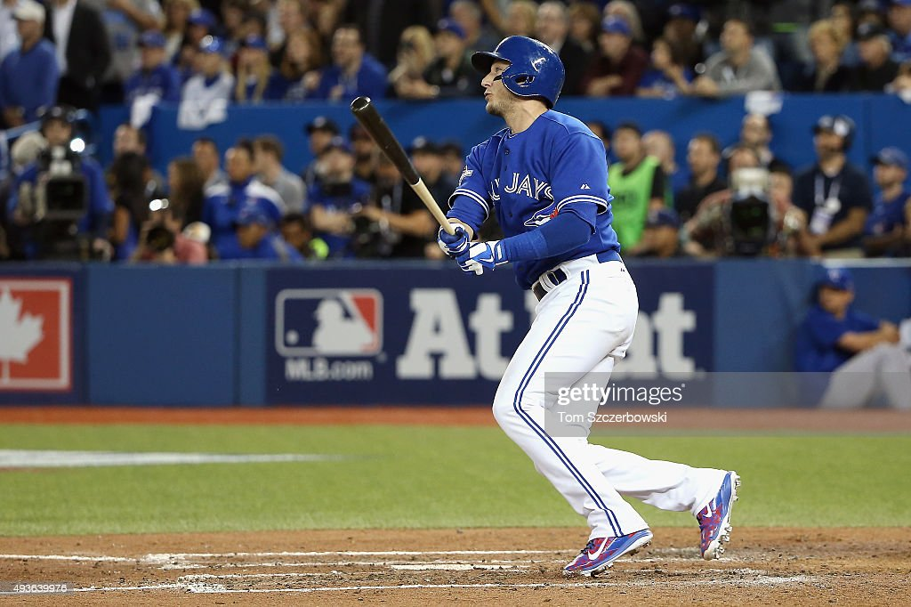 <a gi-track='captionPersonalityLinkClicked' href=/galleries/search?phrase=Troy+Tulowitzki&family=editorial&specificpeople=757353 ng-click='$event.stopPropagation()'>Troy Tulowitzki</a> #2 of the Toronto Blue Jays hits a three-run RBI double in the sixth inning against the Kansas City Royals during game five of the American League Championship Series at Rogers Centre on October 21, 2015 in Toronto, Canada.
