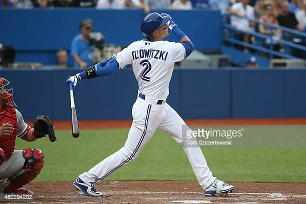 Troy Tulowitzki of the Toronto Blue Jays hits a tworun home run in the second inning during MLB game action against the Philadelphia Phillies on July...