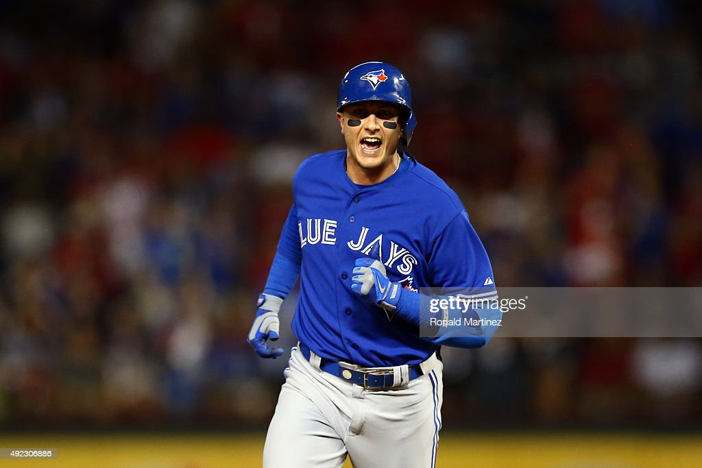 <a gi-track='captionPersonalityLinkClicked' href=/galleries/search?phrase=Troy+Tulowitzki&family=editorial&specificpeople=757353 ng-click='$event.stopPropagation()'>Troy Tulowitzki</a> #2 of the Toronto Blue Jays rounds the bases after hitting a three run home run against Chi Chi Gonzalez #21 of the Texas Rangers in the sixth inning during game three of the American League Division Series on October 11, 2015 in Arlington, Texas.