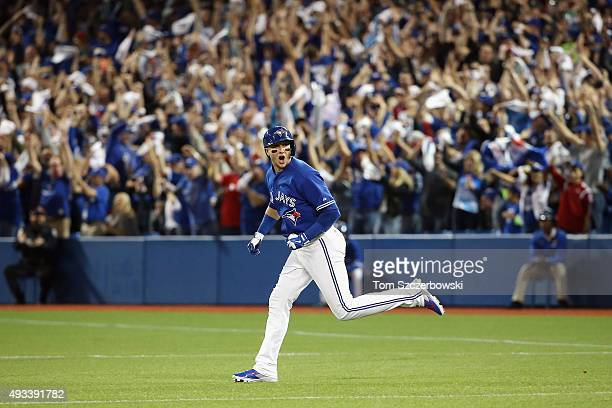 Troy Tulowitzki of the Toronto Blue Jays runs the bases after hitting a threerun home run in the third inning against the Kansas City Royals during...