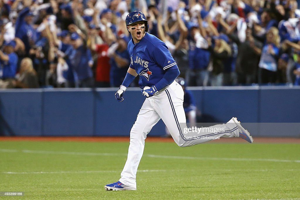 <a gi-track='captionPersonalityLinkClicked' href=/galleries/search?phrase=Troy+Tulowitzki&family=editorial&specificpeople=757353 ng-click='$event.stopPropagation()'>Troy Tulowitzki</a> #2 of the Toronto Blue Jays runs the bases after hitting a three-run home run in the third inning against the Kansas City Royals during game three of the American League Championship Series at Rogers Centre on October 19, 2015 in Toronto, Canada.