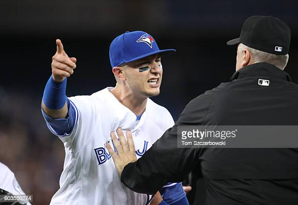 Troy Tulowitzki of the Toronto Blue Jays takes exception to the reaction of Steven Souza Jr #20 of the Tampa Bay Rays after the final out of the game...