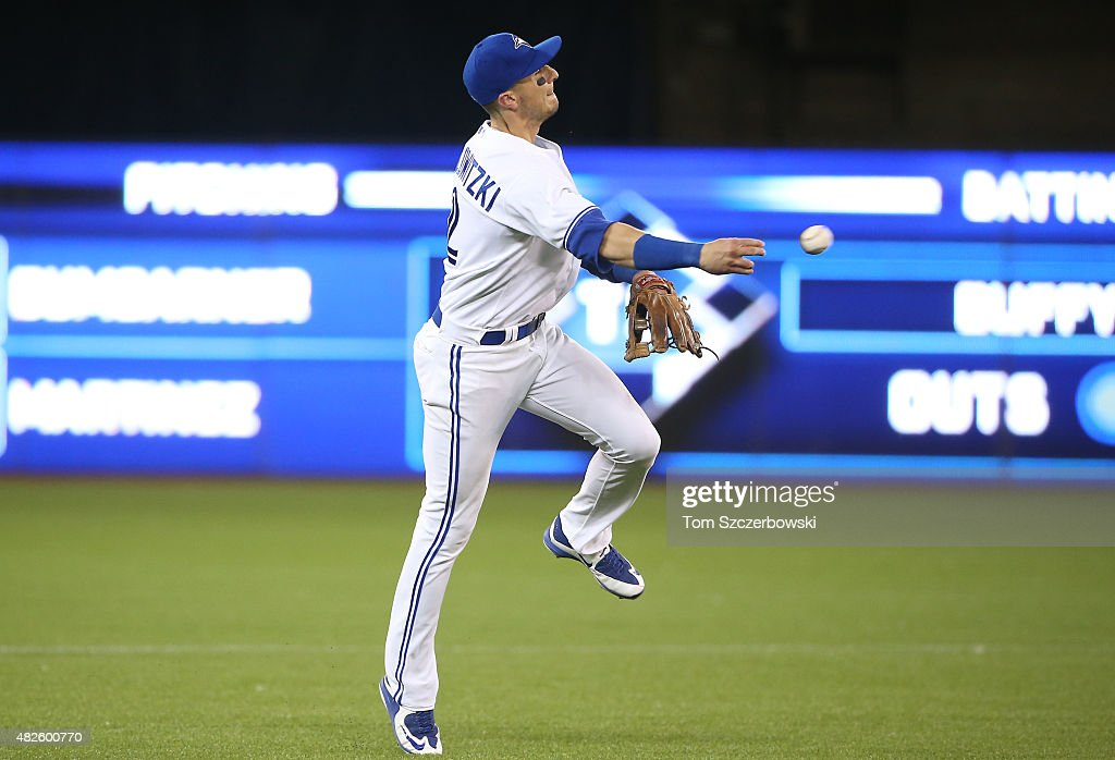 Troy Tulowitzki #2 of the Toronto Blue Jays throws out the baserunner in the eighth inning during MLB game action against the Kansas City Royals on July 31, 2015 at Rogers Centre in Toronto, Ontario, Canada.
