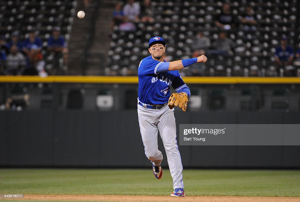 Troy Tulowitzki #2 of the Toronto Blue Jays throws to first base for an out in the sixth inning against the Colorado Rockies at Coors Field on June 28, 2016 in Denver, Colorado. The Toronto Blue Jays defeat the Colorado Rockies 14-9.