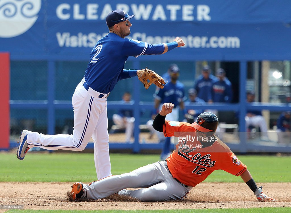 Troy Tulowitzki #2 of the Toronto Blue Jays turns a double pay in the second inning during the game against Dariel Alvarez #12 of the Baltimore Orioles at Florida Auto Exchange Stadium on March 4, 2016 in Dunedin, Florida.