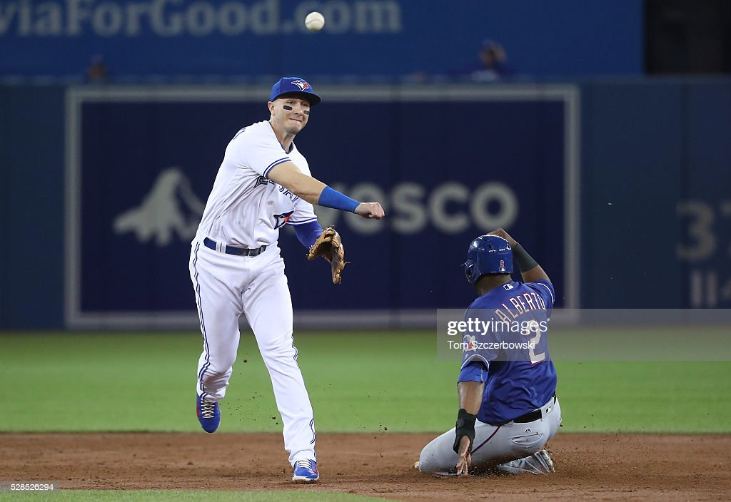 <a gi-track='captionPersonalityLinkClicked' href=/galleries/search?phrase=Troy+Tulowitzki&family=editorial&specificpeople=757353 ng-click='$event.stopPropagation()'>Troy Tulowitzki</a> #2 of the Toronto Blue Jays turns a double play in the third inning during MLB game action as Hanser Alberto #2 of the Texas Rangers slides into second base on May 5, 2016 at Rogers Centre in Toronto, Ontario, Canada.