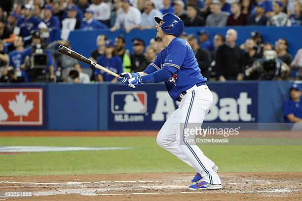 Troy Tulowitzki of the Toronto Blue Jays watches his threerun home run in the third inning against the Kansas City Royals during game three of the...