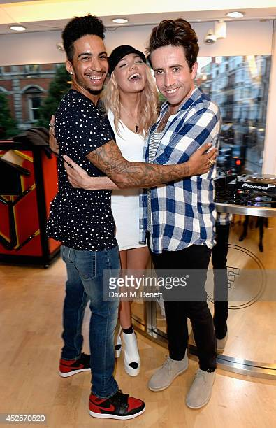 Troy Von Scheibner and DJs Becca Dudley and Nick Grimshaw attend the French Connection #NeverMissATrick launch party at the Oxford Street Store on...