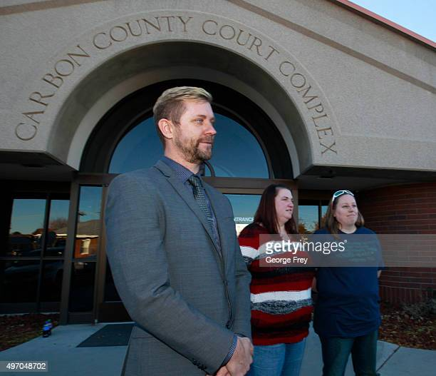 Troy Williams Executive Director of Equality Utah April Hoagland and her wife Beckie Peirce talk to the press after a Utah juvenile judge amended an...