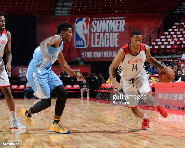 Troy Williams of the Houston Rockets brings the ball up court against the Denver Nuggets during the 2017 Summer League on July 12 2017 at the Thomas...