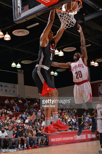 Troy Williams of the Houston Rockets dunks against the Cleveland Cavaliers during the 2017 Las Vegas Summer League on July 8 2017 at the Cox Pavilion...