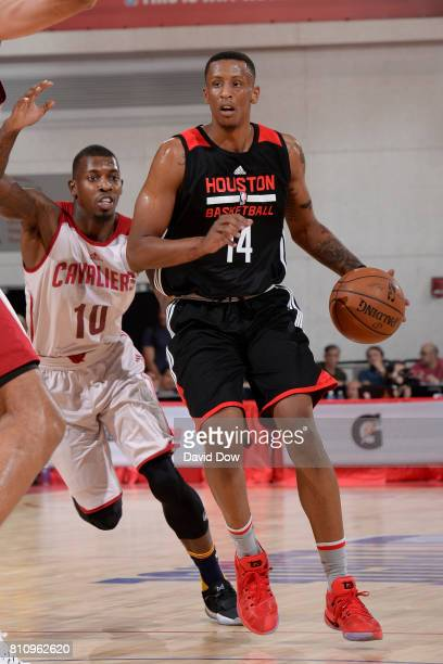 Troy Williams of the Houston Rockets handles the ball against the Cleveland Cavaliers during the 2017 Las Vegas Summer League on July 8 2017 at the...