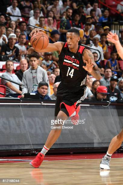 Troy Williams of the Houston Rockets handles the ball against the Phoenix Suns on July 10 2017 at the Thomas Mack Center in Las Vegas Nevada NOTE TO...