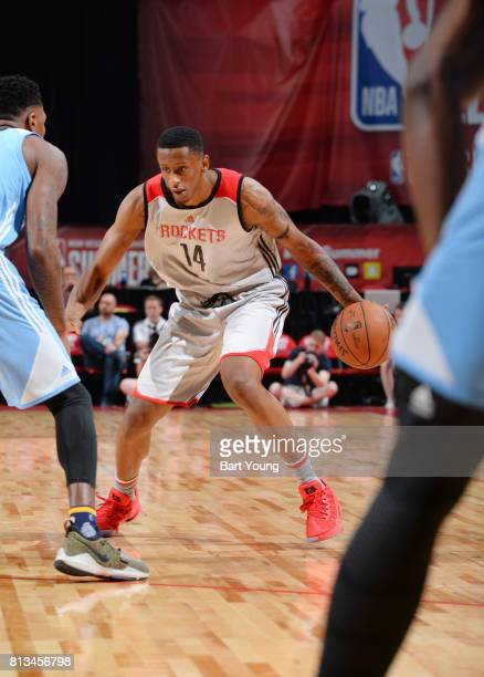 Troy Williams of the Houston Rockets handles the ball against the Denver Nuggets during the 2017 Summer League on July 12 2017 at the Thomas Mack...