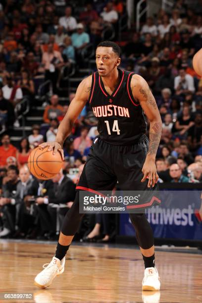 Troy Williams of the Houston Rockets handles the ball during the game against the Phoenix Suns on April 2 2017 at US Airways Center in Phoenix...