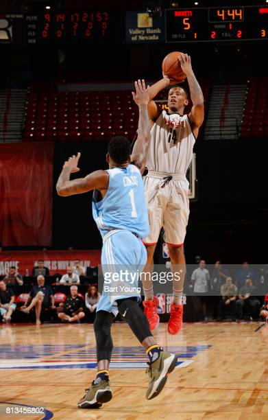 Troy Williams of the Houston Rockets passes the ball against the Denver Nuggets during the 2017 Summer League on July 12 2017 at the Thomas Mack...
